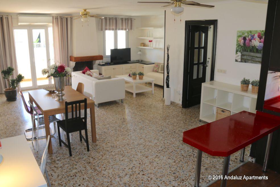 Woonkamer vakantie appartement TOR04 in Nerja